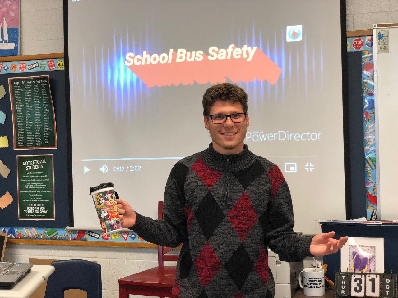 Jacob Presenting his PSA on School Bus Safety